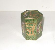 CLOISONNE ENAMEL DRAGON AND PHOENIX BIRD HEXAGON CANISTER SNUFF JAR BOX SIGNED