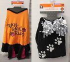 2-SET XLARGE CHEERLEADER DOG COSTUMES Black Orange Tee Sports Football Dress NEW
