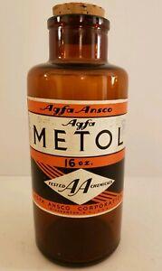 "1935 AGFA ""Metol"" Amber Glass Photography Bottle w/Cork Stopper & Original Label"