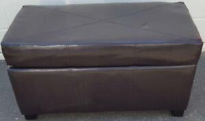 Smaller Size Storage Bench - Faux Leather - Chocolate Brown - VGC - Hinged Lid