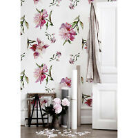 Removable wallpaper Peonies Floral Wall Covering Watercolor Art Home Decor