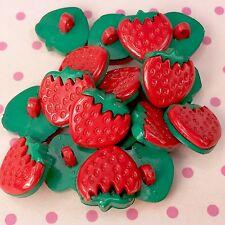 Botones de fresa caña en parte posterior 15mm rojo y verde se vende por 5 Grandes para Artesanía