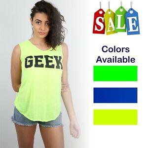 Women Ladies Geek Print Vest Trendy Summer Tank  Shirt Fashion Top