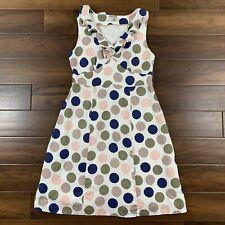 Boden Women's US 8 UK 12 Off White Multi Polka Dot Ruffle Dress 100% Linen