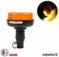 Girofaro Lampeggiante Luce Led Rotante Base Flessibile 12/24v Per Trattori E9