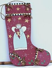 Hand Painted Jointed Wooden Angel Stocking Decoration Free Ship!