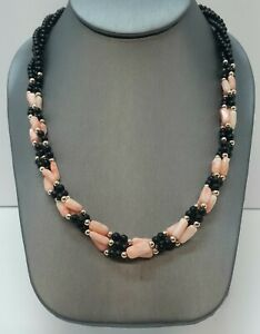 Vintage Pink Angel Skin Coral and Black Onyx Necklace Vermeil Box Clasp