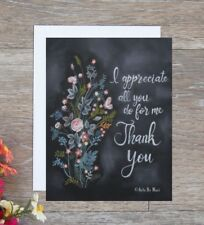Handmade thank you card flowers hand drawn with chalk next day free shipping!