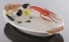 BASSANO Meeresfrüchte Fisch- Servierschale italienische Keramik 43x27 Reliefen