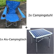 Camping Set 3 tlg Alu Campingtisch Campingstuhl blau Faltstuhl Aufbautisch Tisch