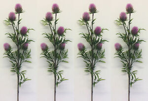 4 x Artificial Thistle Plastic Flowers Sprays