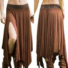 Women's Long Maxi Skirt Gypsy Hippie Boho  High Split Ruffle Fall Casual Dress