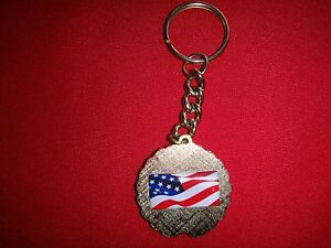 USA Flag And PATRIOTS Keychain With Metal Split Ring