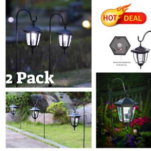 2 Pack 34 Inch Hanging Solar Lights Dual Use Shepherd Hook Lights Outdoor,NEW