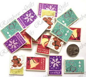 CHRISTMAS POSTAGE STAMPS 20 or 40 WOODEN SCRAPBOOKING EMBELLISHMENTS CABOCHONS