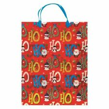 Strong Christmas Plastic Carrier Gift Bags Handles - Xmas Reusable Festive Robus