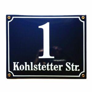 Personalised enamel address sign 20x25 cm | door house number plaque