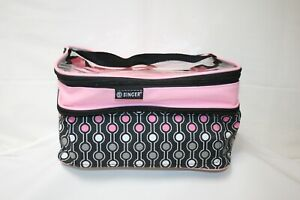 Singer Pink/Black 2 Compartment zippered Sewing Notions Case