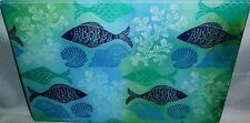 "Glass Cutting Board   BLUE TROPICAL FISH   11 3/4"" x  7 3/4"""