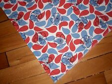 VINTAGE UNUSED RED WHITE & BLUE FLOWERS FEED FLOUR SACK QUILTING SEWING FABRIC