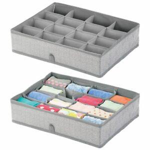 mDesign Soft Fabric Dresser Drawer Storage Organizer - 2 Pack - Gray
