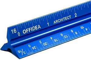 Architectural Triangular Scale Ruler for Blueprints Aluminum Architect 12 Inches