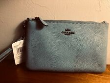 New listing COACH SKY BLUE  PEBBLE LEATHER SIGNATURE  BEAUTIFUL POUCH   NEW WITH TAGS $75