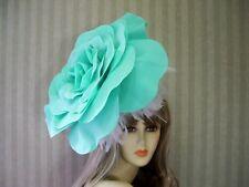 Big Aqua Rose Fascinator, Wedding Hat, Garden Tea, Halloween, Kentucky Derby Hat