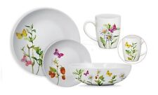 White, Botanical Butterflies 16-Piece Dinnerware Set
