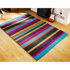 JAZZ  MULTI  STRIPES, 6' x 4', BRAND NEW, THICK. PURE WOOL RUG...FREE DELIVERY.