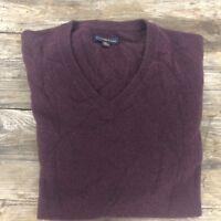 Club Room Men's Cashmere Burgundy V Neck Sweater Pullover Size XL Career Dress