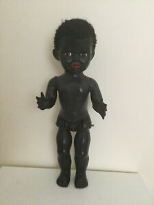 "VINTAGE 1950s BLACK NZ PEDIGREE 16"" HARD PLASTIC WALKING DOLL"