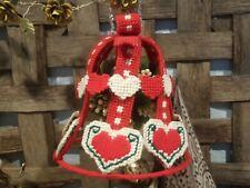 Vintage Handmade Large Plastic Canvas Needlepoint Christmas Bell With Mistletoe