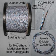 10m KLINGELDRAHT DÜNN weiß/braun/blau Modellbahn Puppenhaus YV2x0,3/06 verseilt