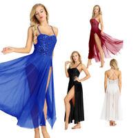 Adult Women Sequins Ballet Leotard Dance Bodysuit Clothes Dress Split Maxi Skirt
