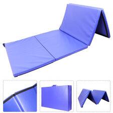 "4'x10'x2"" Gymnastics Mat Gym Folding Exercise Mats Stretching Yoga Blue"