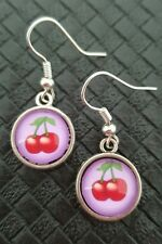 CHERRY CABOCHON EARRINGS ROCKABILLY PIN UP DERBY 50'S KITSCH RETRO KITCHEN FRUIT