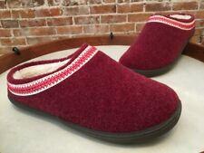 Clarks Red Felt Women's Mule Slipper Scuff w/Trim Detail New