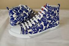 Prada White Blue Floral Hi Top Sneakers sz 39 9 New Trainer Shoes Canvas Leather