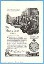 1922 ELGIN WATCH advertisement, Krónos, Caesar, water clock, Harold Delay art