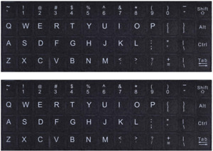 Universal English Keyboard Stickers Black Background White Lettering Pack Of 2