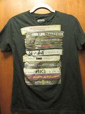 Tupac+Notorious Big- Cassette Tapes- Girl's Cut Black V-Neck T-Shirt- Medium