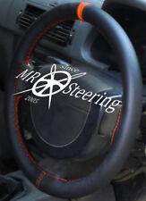 FITS PEUGEOT 206 HDi HATCHBACK BLACK LEATHER STEERING WHEEL COVER + ORANGE STRAP