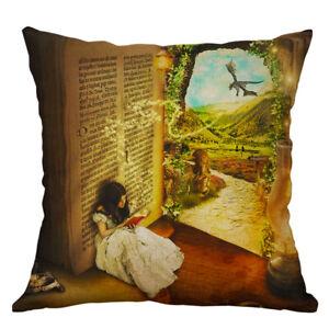 Fantasy Book Girl ReadingThrow Pillow Case Home Decor Sofa Cushion Cover