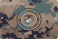 USMC Sign 8 x 12 US Marines Corps PATRIOTIC MILITARY Emblem Camouflage Version
