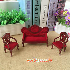 Dollhouse European Retro Rosewood Armchairs Sofa Set 1:12 Miniature Furniture