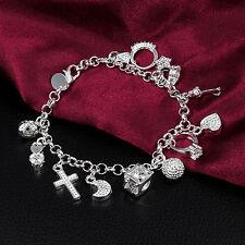 Bracciale Braccialetto donna argento pendenti a luna stella cuore chiave croce
