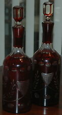 Vintage Pair Of Ruby Red & Clear Cut Glass Decanters & Stoppers W Floral Design