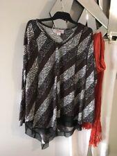 CLARITY THREADZ Animal Print Black Taupe Long Sleeve Stretch Tunic Top Blouse M