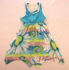 Dollie & Me Size 7 Summer Dress Blue Floral Back Tie